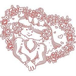 Redwork Bride embroidery design