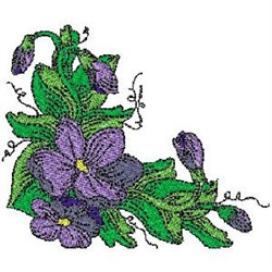 Violet Blooms embroidery design