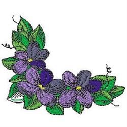 Corner Violets embroidery design