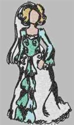 Lady Bride embroidery design