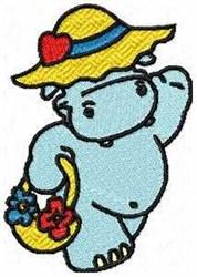Funny Hippo embroidery design