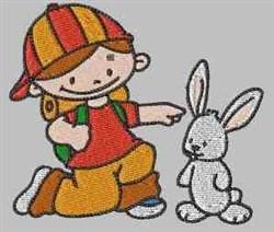 Boy & Rabbit embroidery design