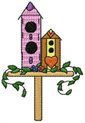 Two Birdhouses embroidery design