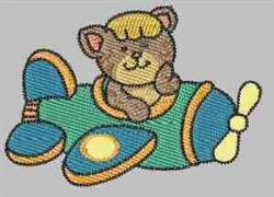 Kitty In Plane embroidery design