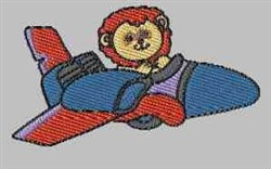 Lion In Airplane embroidery design
