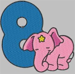 Elephant Number 8 embroidery design