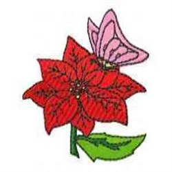 Poinsettia & Butterfly embroidery design