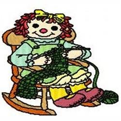 Ann Knitting embroidery design