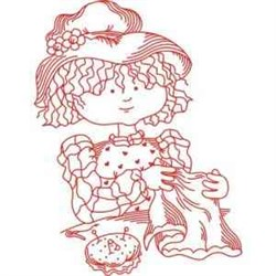 Girl Sewing embroidery design
