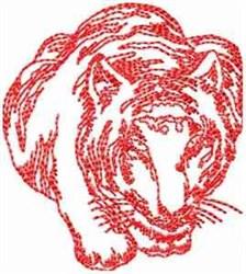 Tiger Redwork embroidery design
