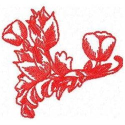 Red Work Tulips embroidery design