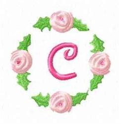 Rosebud Alphabet C embroidery design