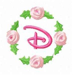Rosebud Alphabet D embroidery design