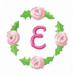 Rosebud Alphabet E embroidery design