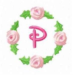 Rosebud Alphabet P embroidery design