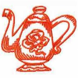 Red Work Teapot embroidery design
