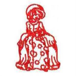 Woman Redwork embroidery design