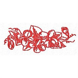 Red Work Floral embroidery design