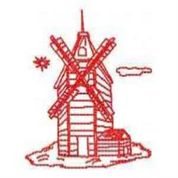 Red Work Wind Mill embroidery design