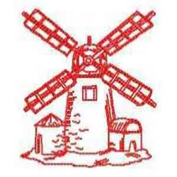 Redwork Wind Mill embroidery design