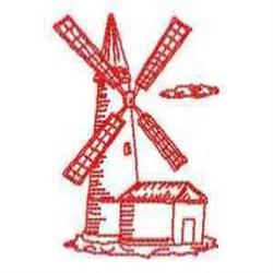 Redwork Dutch Windmill embroidery design