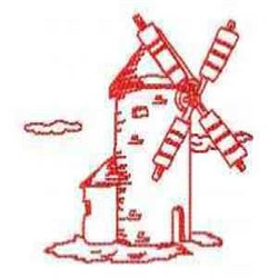RW Windmill Building embroidery design