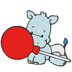 Baby Hippo embroidery design