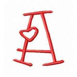 Valentine Alphabet A embroidery design