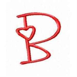 Valentine Alphabet B embroidery design