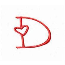 Valentine Alphabet D embroidery design