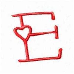 Valentine Alphabet E embroidery design