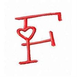 Valentine Alphabet F embroidery design