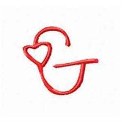 Valentine Alphabet G embroidery design