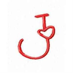Valentine Alphabet J embroidery design
