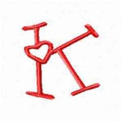 Valentine Alphabet K embroidery design