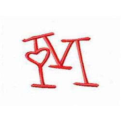 Valentine Alphabet M embroidery design