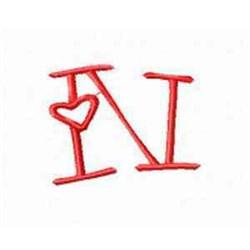 Valentine Alphabet N embroidery design