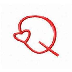 Valentine Alphabet Q embroidery design