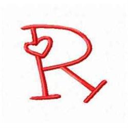 Valentine Alphabet R embroidery design