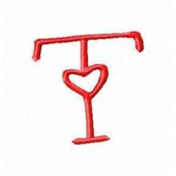 Valentine Alphabet T embroidery design