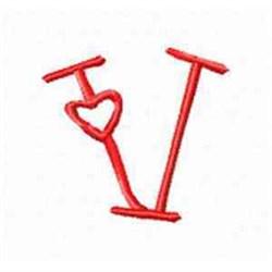 Valentine Alphabet V embroidery design