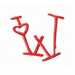 Valentine Alphabet W embroidery design