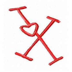 Valentine Alphabet X embroidery design