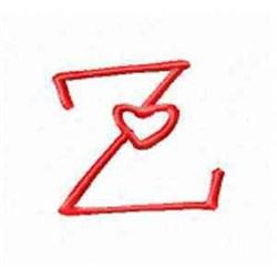 Valentine Alphabet Z embroidery design