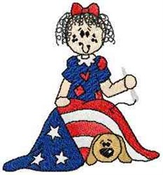 Raggedy Betsy Ross embroidery design
