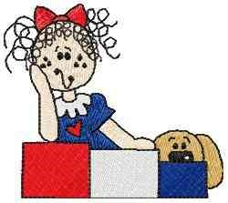 Patriotic Raggedy embroidery design