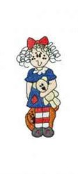 Raggedy With Doll embroidery design