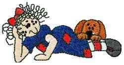 Raggedy & Puppy embroidery design