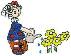 Watering Flowers embroidery design