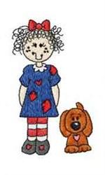 Dog & Raggedy Ann embroidery design